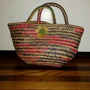 Handmade straw basket tote